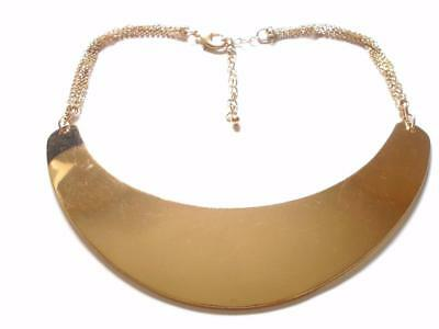 VINTAGE 80's CHUNKY GOLD TONE CHUNKY COLLAR METAL CHAIN STATEMENT NECKLACE BIB