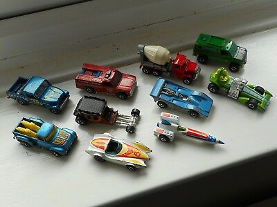 Hot Wheels job lot x10 blackwall era cars 1970s/80s vintage, good used condition