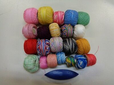 MIXED LOT OF  20  ASSORTED TATTING THREADS & SHUTTLE c