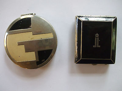 Vintage Powder Compacts Rectangle & Round Art Deco ~ Both Very Good Condition