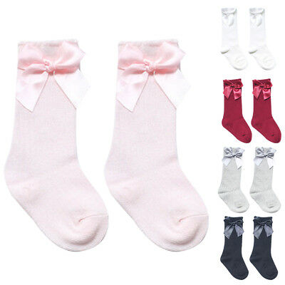 Toddler Baby Girls Knee High Long Tube Socks Bowknot Cotton Booties Stockings US