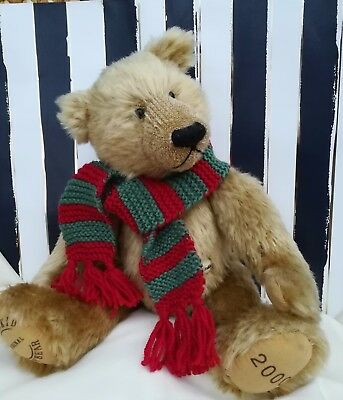 *Bear knits* Hand Knitted red/green striped  scarf to fit a medium teddy bear