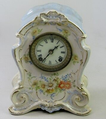 "Antique Ansonia Royal Bonn Porcelain ""la Hontan"" Porcelain Mantel Clock"