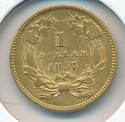 USA GOLD 1 Dollar 1857 Indian Large Head Type 3  - VF+