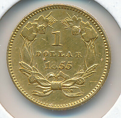 USA GOLD 1 Dollar 1855 Indian Small Head Type II  - VF+ Details