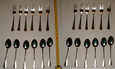 24 Piece Stainless Steel Spoon And Fork Set,12 Spoons + 12 Forks. Free Shipping