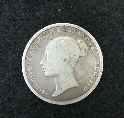 1839 Great Britain Six Pence   Silver Coin