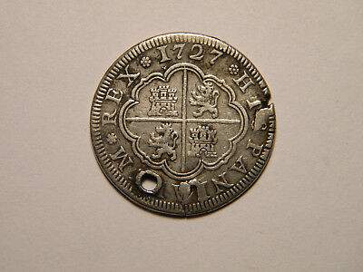 1727 Spanish 2 Reales Colonial Coin