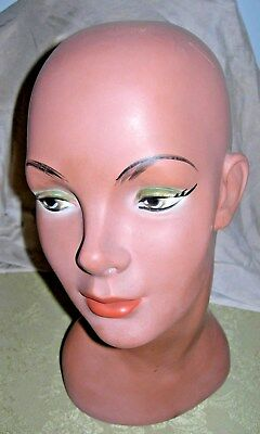Vintage Plaster Hand Painted Female Mannequin Head Bust Wig Hat Jewelry Display
