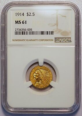 1914 $2.50 Indian Head Quarter Gold Eagle US Coin (NGC MS61 MS 61) (04354)