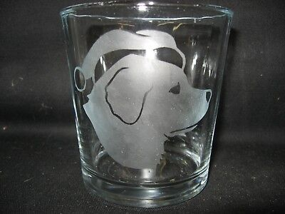 New Etched Christmas Santa Great Pyrenees Old-Fashioned Rocks Glass Tumbler
