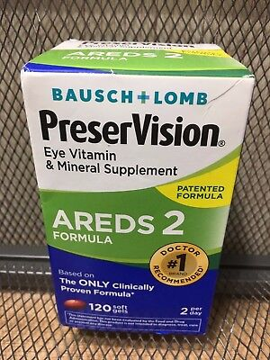 Bausch + Lomb Preservision Areds 2 Eye Vitamins 120 Soft Gels MAY 2019