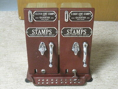 Vintage Schermack Double Stamp Vending Machine With Clear Backs, U.S. Postage