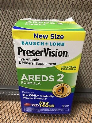 Bausch + Lomb Preservision Areds 2 Eye Vitamins 120 + 20 = 140 Soft Gels DEC2019