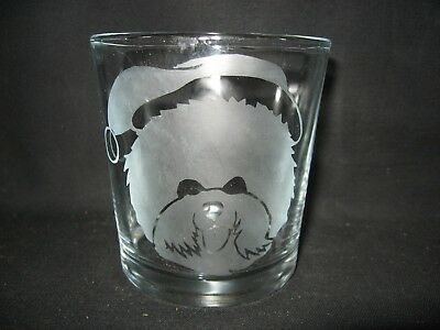 New Etched Christmas Santa Claus Bichon Frise Old-Fashioned Rocks Glass Tumbler