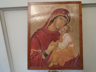 large vintage 80's greek wooden religious icon plaque   madonna with child  LOOK