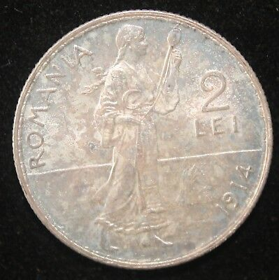 Rainbow Toned 2 Lei Silver Coin of Romania  Carol I