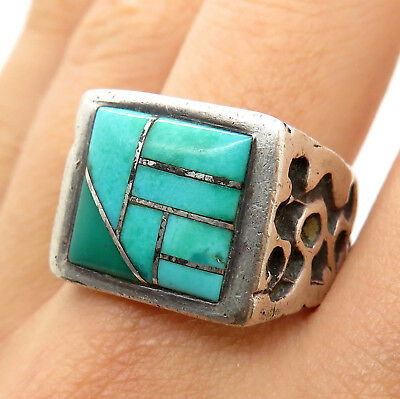 Lee Chee Navajo Old Pawn 925 Sterling Silver Lone Mountain Turquoise Tribal Ring