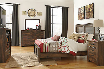 COURTNEY 5 pieces Brown Bedroom Set Furniture w/ King Size Panel Headboard Bed