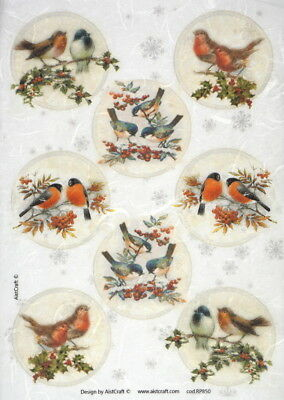Rice paper -Winter Birds- for Decoupage Scrapbooking Sheet