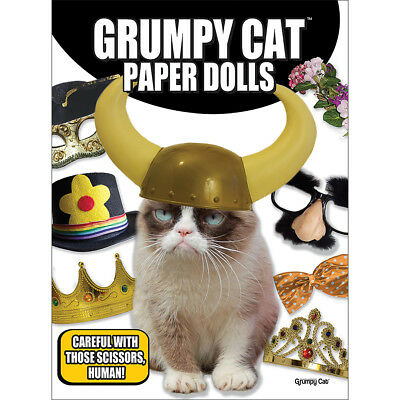 NEW Grumpy Cat Paper Doll Set - Hats Masks Crowns & More - Softcover w/ 16 Pages