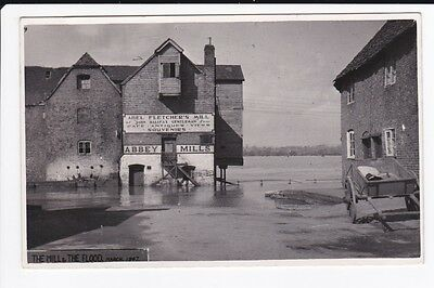 Flooded Flood Disaster Abel Fletchers Mill Tewkesbury RPPC Vintage Postcard 1947