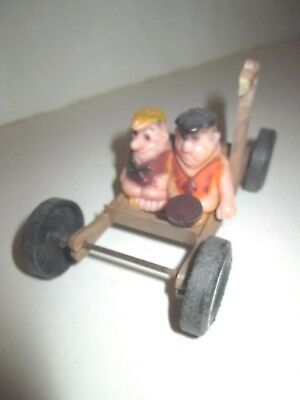 Vintage Flintstones Fred Flintstone With Barney Figure Toy Car Chassis For Parts