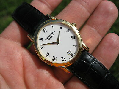 Raymond Weil Tradition White Dial Men's 18K Gold Plated Dress Date Watch! 5571 ✅
