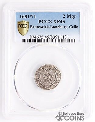 1681/71 Germany Brunswick-Luneburg-Celle Silver 2Mgr PCGS XF45 (Extra Fine)
