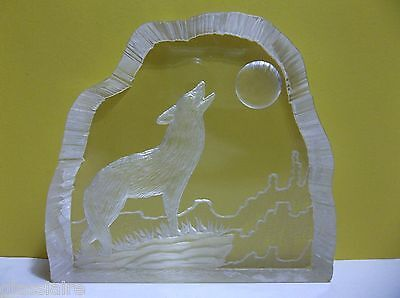 Vintage Etched Lucite Acrylic WOLF Sculpture Signed