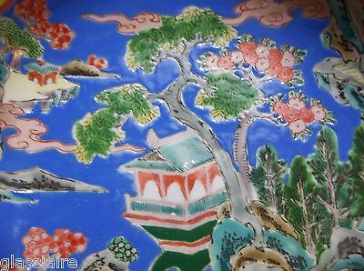 "Vintage Chinese Porcelain Enamel Bowl 7.25"" SIGNED BONSAI Pagoda"