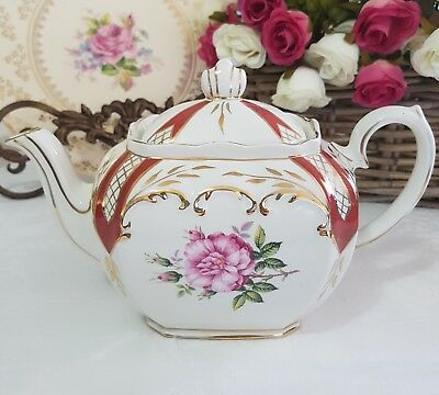 Beautiful and rare SADLER Cube Teapot Maroon Pink Roses Made in England