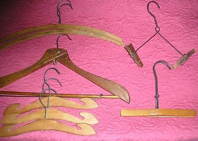 Vintage 1940s or Older Wood Hangers - infant, and adult coat, pant and skirt