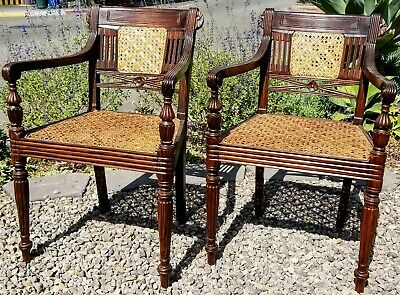Pair Rosewood Indonesian Raffles Chairs - British Colonial - Sheraton - Regency