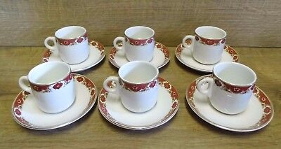 6 x Vintage Maddock Royal Vitreous Coffee Espresso Cups & Saucers