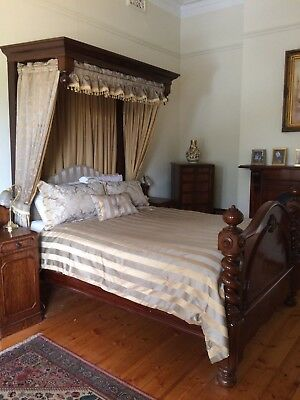 Queen Size Victorian Mahogany Antique Four Poster Bed