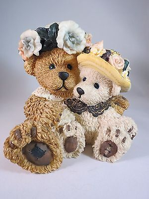 Bank with Mom & Baby Bear with Party Hats Figurine Indoor Home Decor