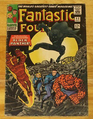 Key Silver Age 1966 FANTASTIC FOUR No. 52 1st BLACK PANTHER VG+ 4.5 No Reserve