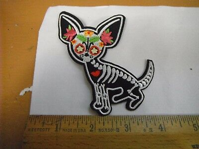 Chihuahua Skeleton Sew on Patch New