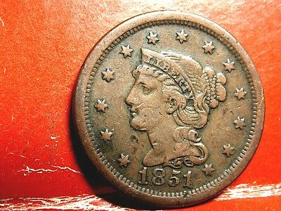 1851 Braided Hair Early Copper Large Cent (Penny) #4A