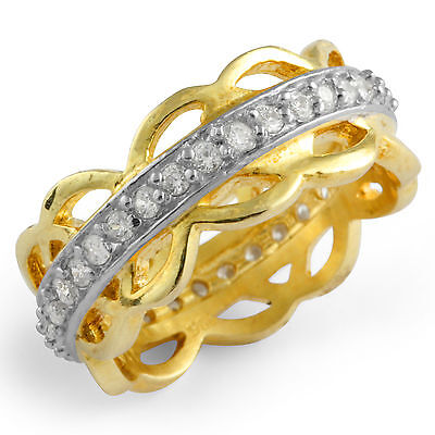 Round Cubic Zirconia Gold Plated Eternity Anniversary Wedding Ring Silver Sz 8