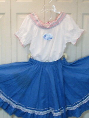 2521 New White Embroidered Blouse with Blue Skirt That Ties in Back, Reg