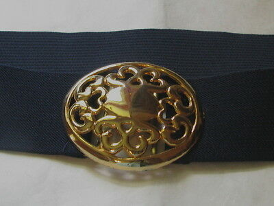 """2717 Black Stretch Belt with Gold Buckle, XL, 35-54"""" Long"""