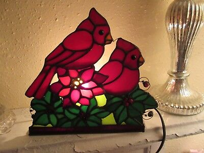 Charming Stained Glass Cardinal Lamp Christmas Display Holly & Berries