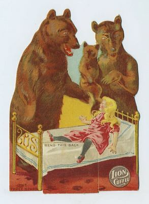 1800's Die Cut Stand Up Doll Advertising Trade Card Coffee Three Bears bv1993