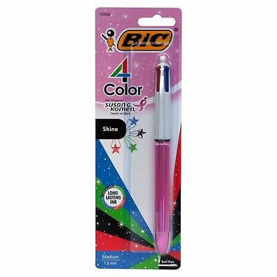 Bic 4-Color Shine Retractable Multi-ink Ballpoint Pen, Medium Point 1.0mm, Pink