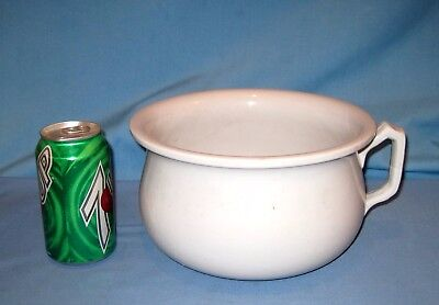 Vtg White Antique English Meakin Ironstone Huge Size Chamber Pot!