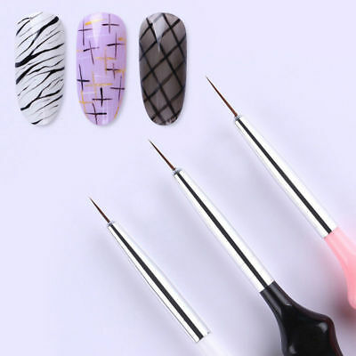 LOt of 3Pcs UV Gel Liner Set Painting Acrylic Pen Gourd Handle Nail Art Tools