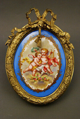 CHARMING FRENCH ANTIQUE GILT BRONZE FRAME w ENAMEL  PAINTED PORCELAIN PLAQUE
