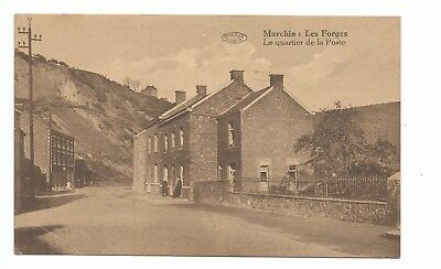 2 Belgium postcards, Marchin, Les Forges, written names New Year's Eve 1944-1945
